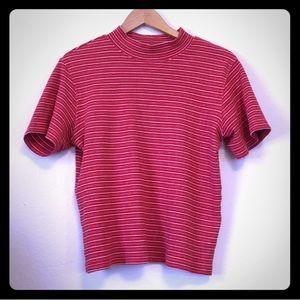 Vintage mock striped neck t shirt